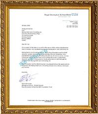 皇家布朗普顿医院合作关系证明信